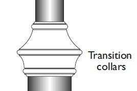 lc 89mm to 139mm tube transition collar - cast aluminium